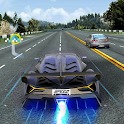 Driving in speed car icon