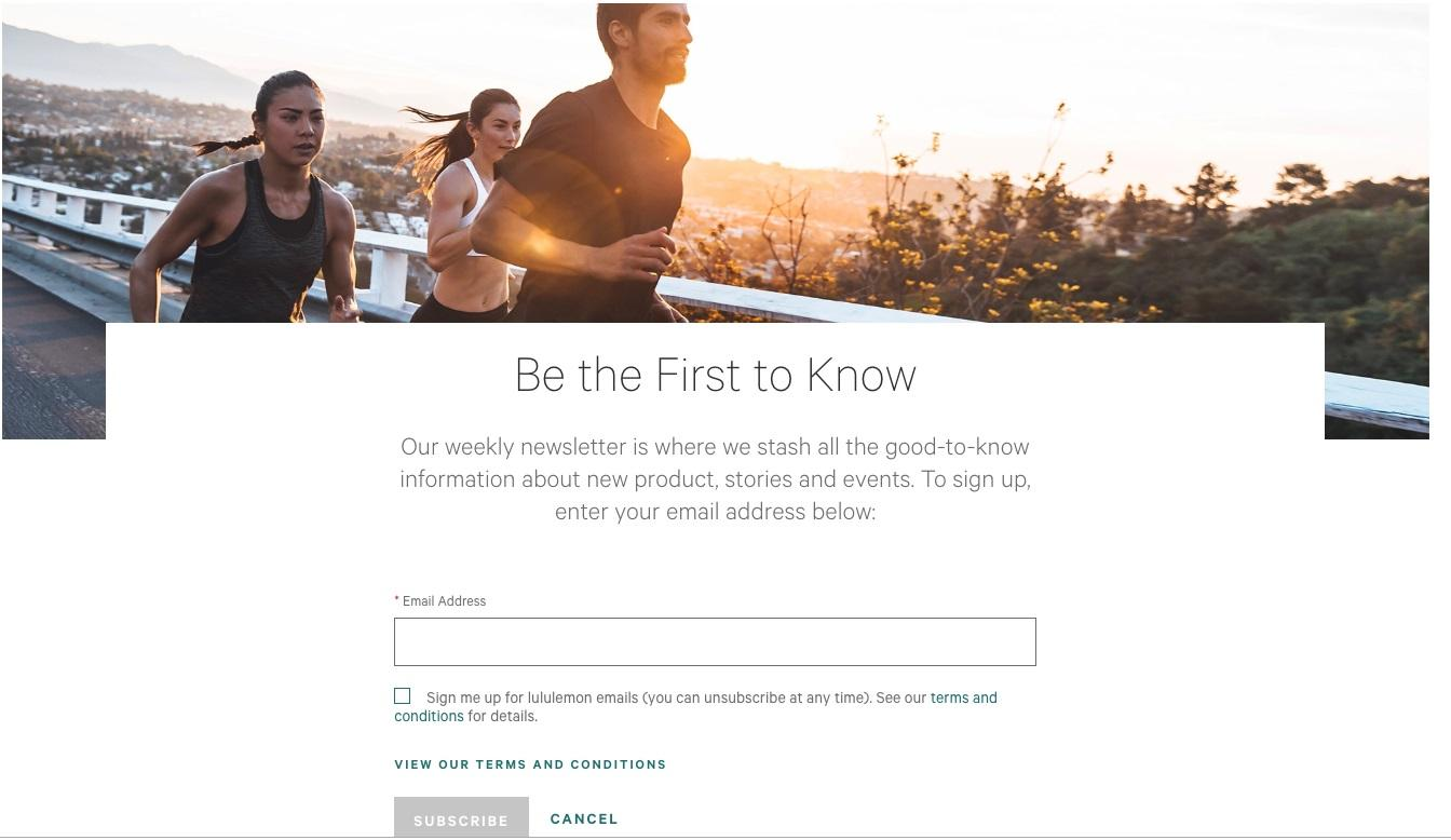 Lululemon example of newsletter sign-up form.
