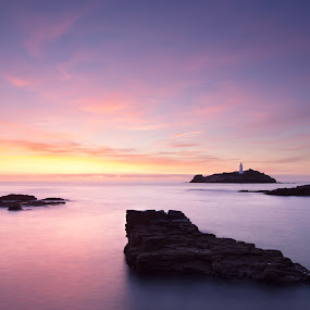 Godrevy Lighthouse by Wim De Koster - Landscapes Waterscapes ( sunset, lighthouse, long exposure, seascape, godrevy, dusk, cornwall )