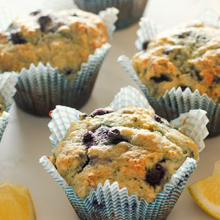 Healthy Lemon Blueberry Muffins (with yogurt!).
