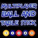 Multiplayer ball and table stick icon