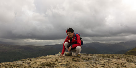 Photo: Summit of Catbell. I hunkered down for a bit to avoid the worst of the gusts.