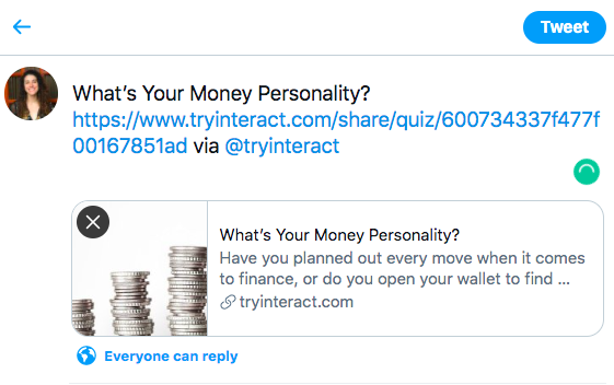 Sharing money personality quiz on Twitter