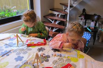 Photo: Girls painting.