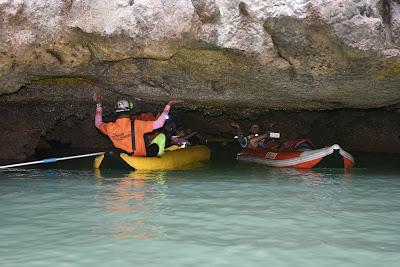 Enter narrow channels deep under the limestone rock