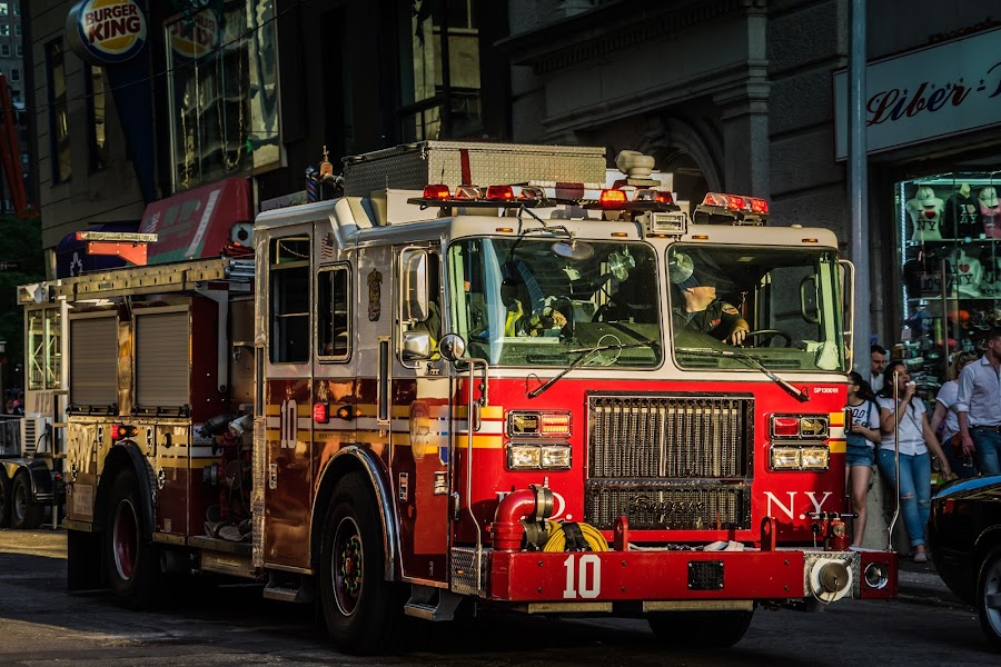 Ladder Co 10 - New York by Ian McCutcheon - Transportation Other ( sunset, firefighters, fire truck, new york )