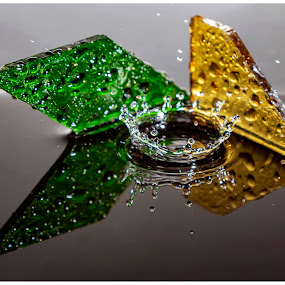 green and yellow by Chris Duffy - Abstract Water Drops & Splashes ( glass, green, yellow, splash, splash water photography, splash photography )