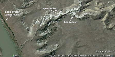 Photo: On Friday morning we hiked up into Neat Coulee, which includes an interesting box canyon. See next several photos.
