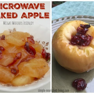 WW Microwave Baked Apple with Cranberries & Maple Syrup.