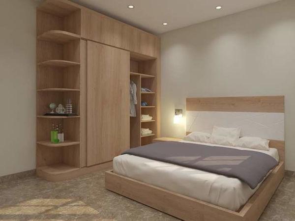 Tủ áo gỗ công nghiệp kết hợp kệ trang trí