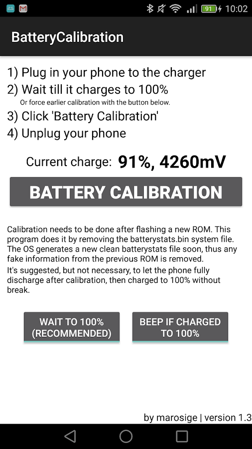 Battery Calibration – Capture d'écran