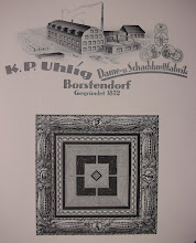 "Photo: KP Uhlig, shown as founded 1872, in Borstendorf municipality of the Erzegebirge region Germany, on its eastern border with the Czech republic, well known for craftwork including wood-carving.  Frontispiece of my catalogue. The firm styled itself as Draughts (""Dame"") and Chess (""Schach"") BOARD (""brett"") makers (""fabrik""). Did it actually make the pieces?  I am not sure, but that is beyond this initial look.   The catalogue is some 33 pages, most of which are devoted to chess/draughts boards of various descriptions/sizes. Only a few pages are devoted to chess pieces in their own right.   Apart from the catalogue, and a 1954 advert re travel sets (see Travel Sets album) I have found no details regarding the firm's chess products . In this respect, they seem to closely mirror the English firm of F.H.Ayres as regards their chess activities - almost certainly relying on selling in quantity through middlemen/retailers with no overt attribution to the firm itself. Thus most of what is said here has to be speculation."