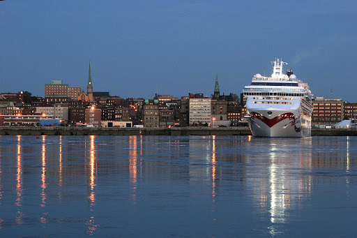 A cruise ship as twilight falls at Saint John Harbour in New Brunswick, Canada.