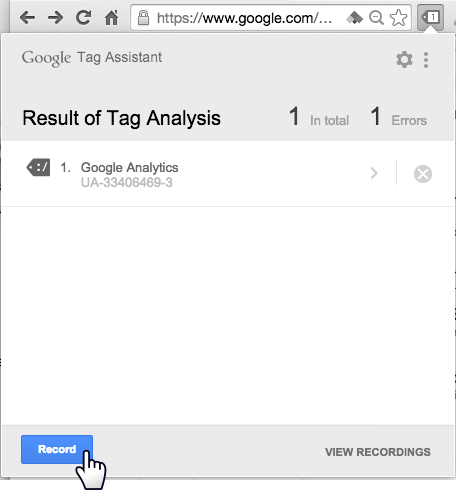 Google Tag Assistant results page