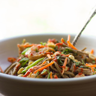 Summer Veggie, Shrimp & Soba Noodle Salad with Peanut Dressing