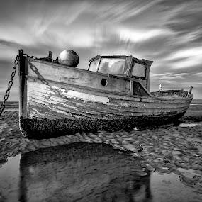 Meol's in Mono by Raymond Mcbride - Black & White Landscapes ( sand, boats, long exposure, beach, mono, black&white )