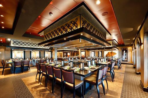 Norwegian-Escape-Teppanyaki - Head to Teppanyaki, one of Norwegian Escape's specialty restaurants, for authentic Japanese hibachi cuisine.