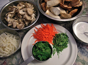 Photo: mushrooms, jicama and prepared herbs for salad
