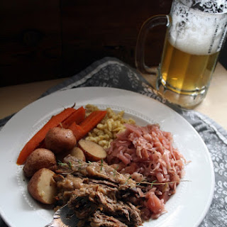 Sauerbraten with Spätzle and Braised Cabbage