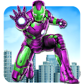 Iron Superhero flying Robot - City Rescue Mission