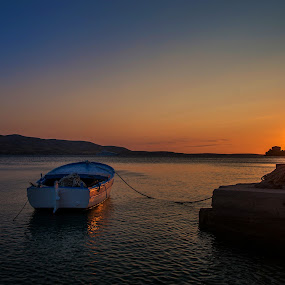 Boat in the evening by Tomaž Mikec - Landscapes Sunsets & Sunrises ( adriatic, colors, sunset, sea, boat, evening, sun )