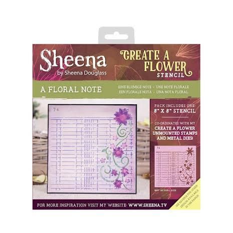 Sheena Douglass Create a Flower 8X8 Stencil - A Floral Note UTGÅENDE