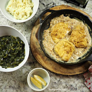 Pan Fried Pork Chops & Gravy with Collard Greens.