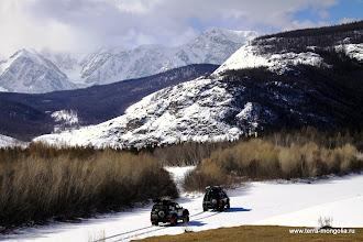 Photo: Сухие берега и снежное русло реки.