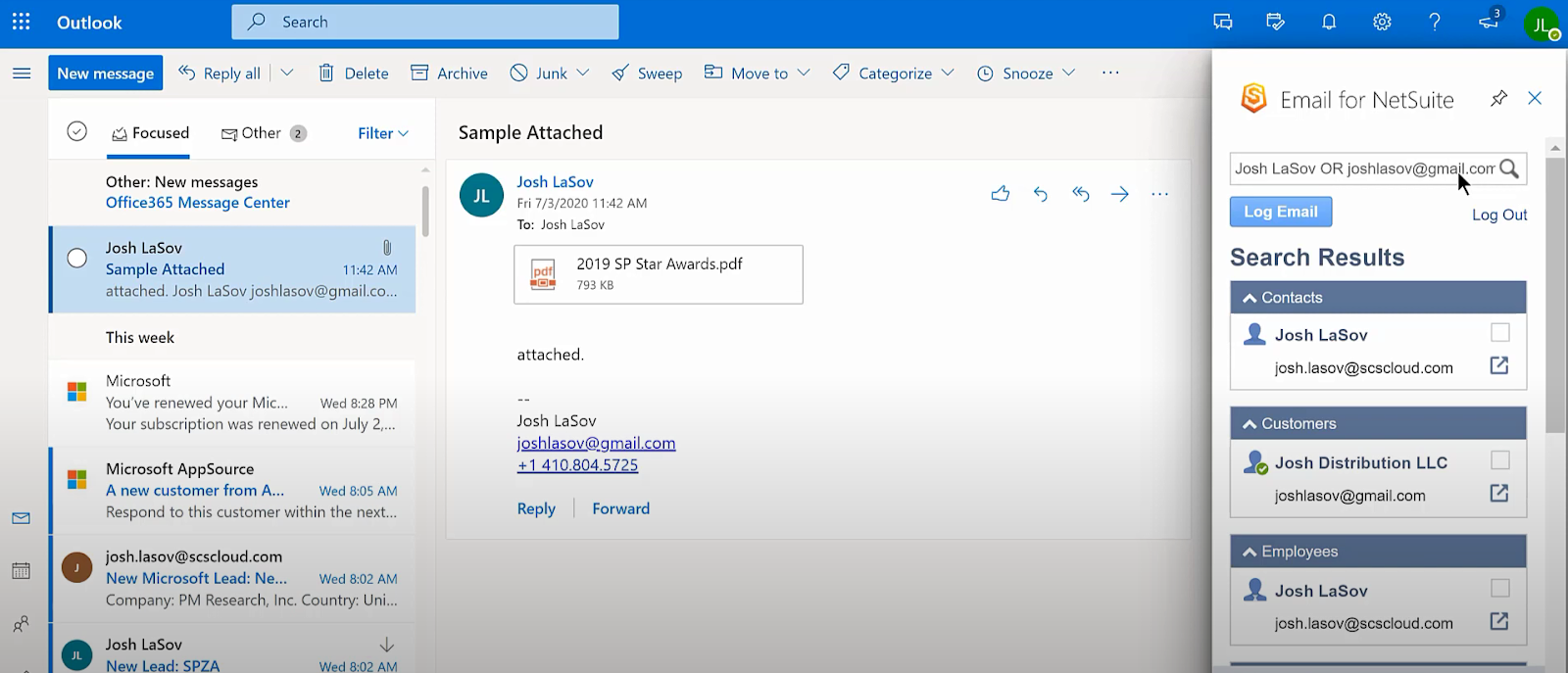 Email in Outlook showing the Email for NetSuite pop up on the right side of the screen that allows you to log emails directly to NetSuite.