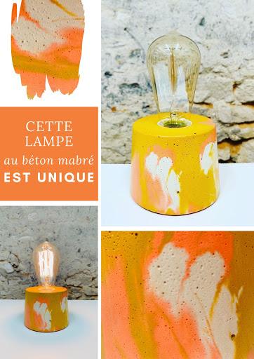 lampe béton marbré orange et jaune