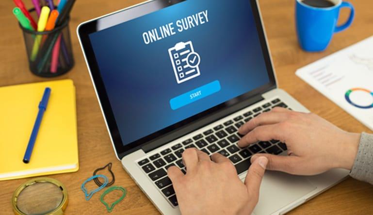 Seseorang sedang melakukan survey secara online