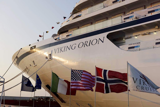 Viking Orion during its floatout. The ship debuts in June 2018.