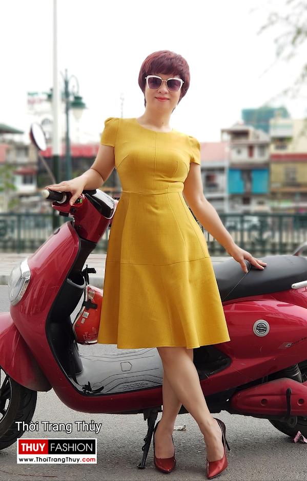 Váy xòe công sở dạo phố màu vàng cam V699 thời trang thủy hải phòng 2