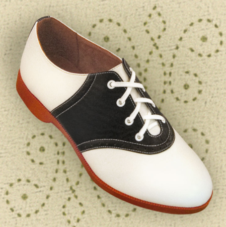 black and with saddle shoes