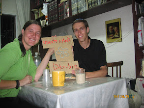Photo: Esti and Eliyahu with a sign made by Eliyahu's youngest sister and brother