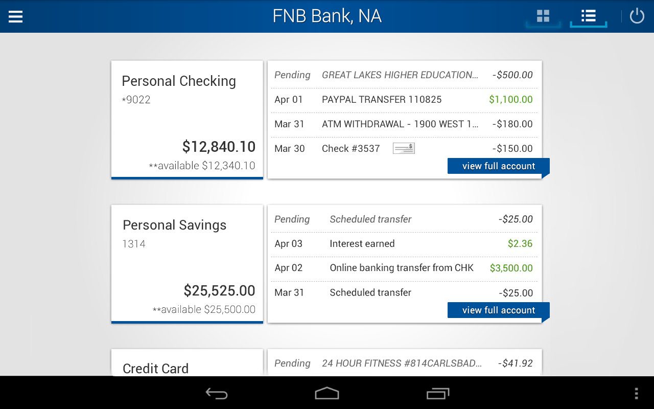 FNB Bank, N.A. Mobile Banking - screenshot