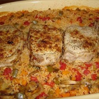 Pork Chops with Garden Rice.