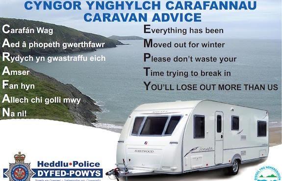 Thieves target Welshpool caravans