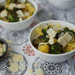 Spaghetti Squash with Roasted Broccoli and Parmesan