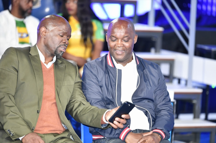 Bloemfontein Celtic coach Steve Komphela and Mamelodi Sundowns coach Pitso Mosimane during the Telkom Knockout last 16 Draw at SuperSport Studios on October 08, 2018 in Johannesburg, South Africa.