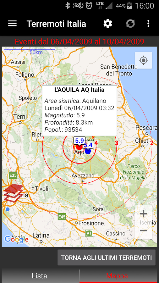 Terremoti Italia- screenshot