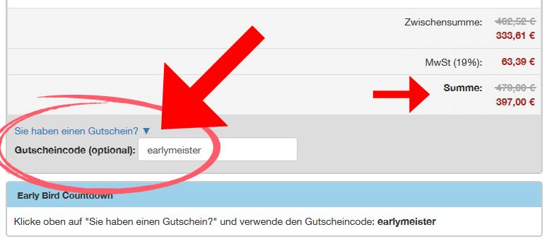 """Nutze beim Bestellprozess den Gutscheincode """"earlymeister"""""""