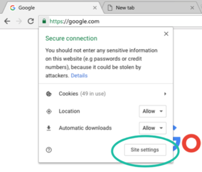 Site settings button accessed by clicking the lock icon at the start of the Chrome address bar
