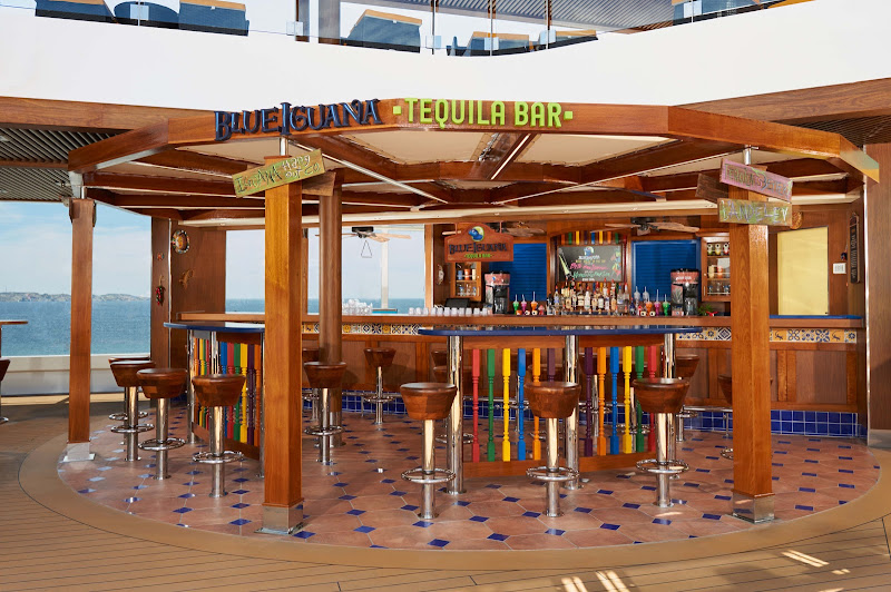 The BlueIguana Tequila Bar on Carnival Vista is the perfect spot to chill and enjoy a slushy tequila drink or an ice-cold Mexican cerveza.