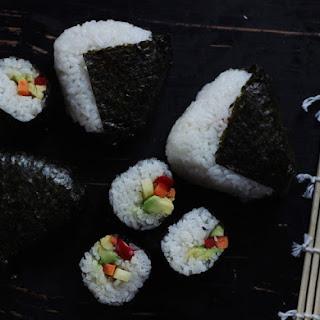 Sweet Potato + Avocado Onigiri / Pickled Veg + Avocado NORI ROLLS