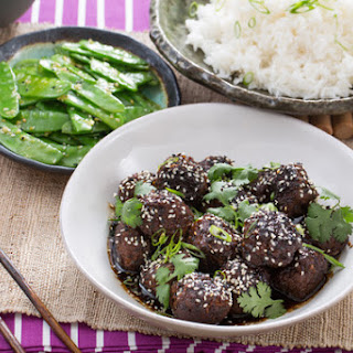 Chinese Five-Spice Meatballs with Snow Peas & Jasmine RIce.