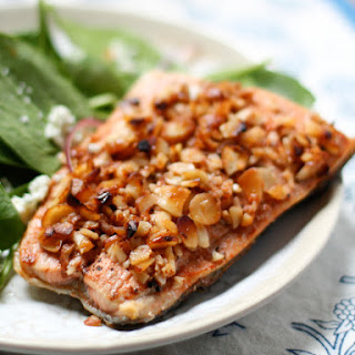Honey Mandarin Salmon with Almond Crust