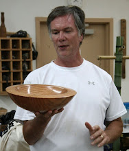 Photo: Doug Pearson with a large red oak bowl