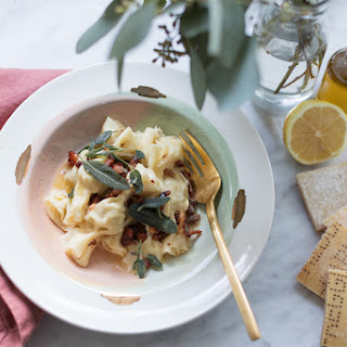 Casonsei Pasta With Pancetta Brown Butter Sage Sauce.
