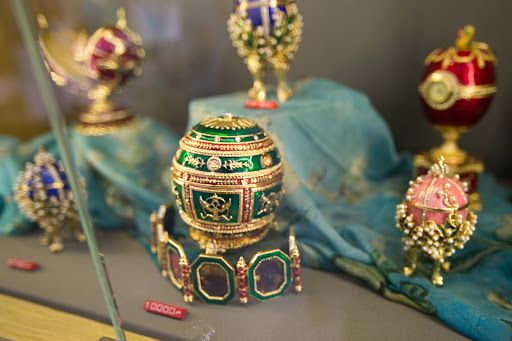 Peterhoff-gift-shop.jpg - Replicas of Faberge eggs in the gift shop at the Peterhof Palace in St. Petersburg.  The price, 10,000 rubles, is about $150.
